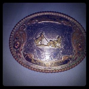 Sterling Silver Vintage Rodeo Roping Belt Buckle